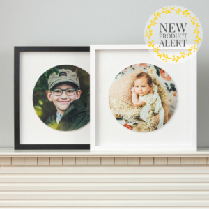 Floating Round Photo in Wooden Frame